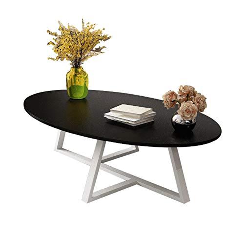 LICHUAN Mesa de café moderna simple y gruesa con marco de acero mesa auxiliar ovalada artificial mesa auxiliar para sala de estar, sofá, mesa auxiliar de salón, color negro