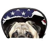 Neceser de Maquillaje Estuche Escolar para Cosméticos Bolsa de Aseo Grande Perro Corbata Nudo Bandera Americana