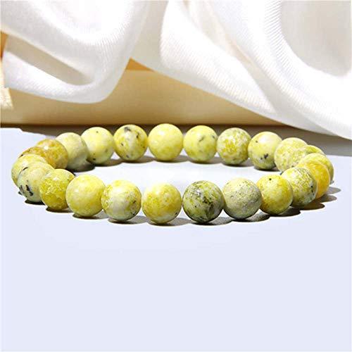 KKMAOMAO Chakra Natural Bracelet,Handmade Natural Yellow Stone Beads Bracelet Bangle Fashion Lapis Lazuli Turquoises Beaded Chakra Bracelet Jewelry Women, 23Cm
