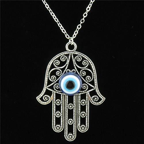 Metal Women Turkish Blue Acrylic Evil Eye Hamsa Hand Pendant Collar Chunky 18'chain Necklaces Jewelry
