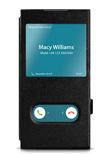 moex Klapphülle in Lederoptik inkl. Sichtfenster kompatibel mit Samsung Galaxy Note10 | Integrierte Standfunktion + Magnetverschluss, Schwarz