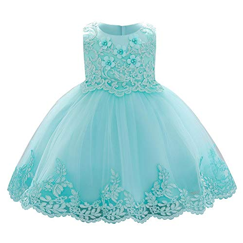 FYMNSI Vestido de fiesta para niña de 6 a 24 meses con diseño de flores y encaje, ideal para bodas, damas de honor, fiestas, cumpleaños, bautizos, bailes, azul verde, 12-18 Meses