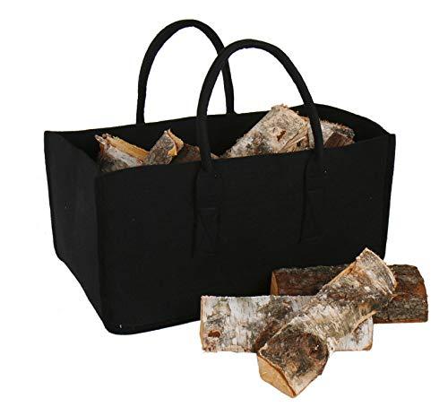 Kaminholz Tasche schwarz - Holz Korb Ofenholz Tragetasche Filztasche Filzkorb