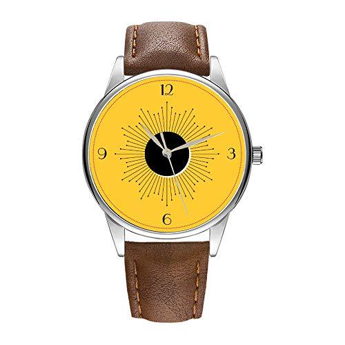 Herrenuhr braune Cortex Quarz-Uhr für Männer berühmte Armbanduhr Quarzuhr für Geschäftsgeschenk Art Deco White Sunburst Eclipse (gelb) Uhr