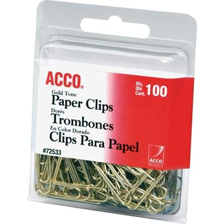 Acco Paper Clips, Standard.031 Wire Gauge, 100/PK, Gold (72533)