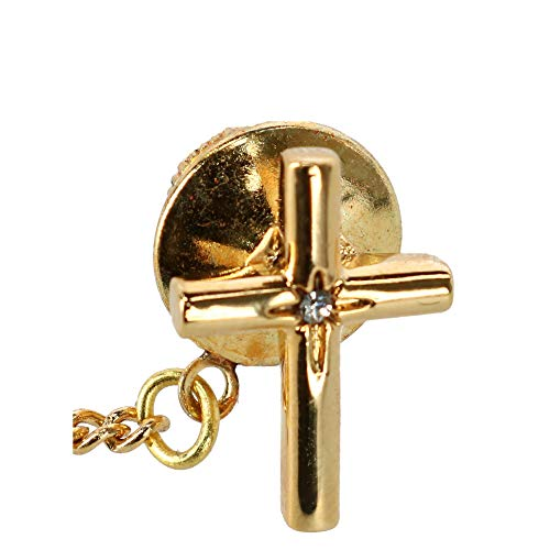 Ascentix Men's Cross Tie Tack with Crystal Center, Gold