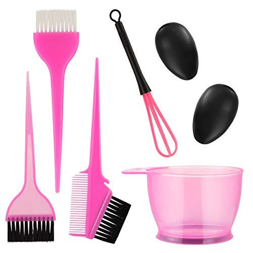 Lurrose Haare Färben Set Professionell Färbeschale Haarfärbepinsel Haare Färben Zubehör 6tlg (Rosig)