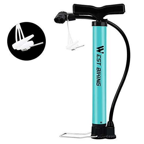 WXX QQBH Bomba de la Bici Bomba de Aire Planta de Bicicletas MTB Ultraligero Acero portátil Ciclismo Bola Basketabll Bomba de Tipo de la Bici (Color : Blue)