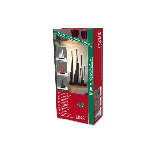 Konstsmide 2496-710TR LED Metallleuchter schwarz lackiert / für Innen / 3V Innentrafo / 13 warm weiße Dioden / transparentes Kabel