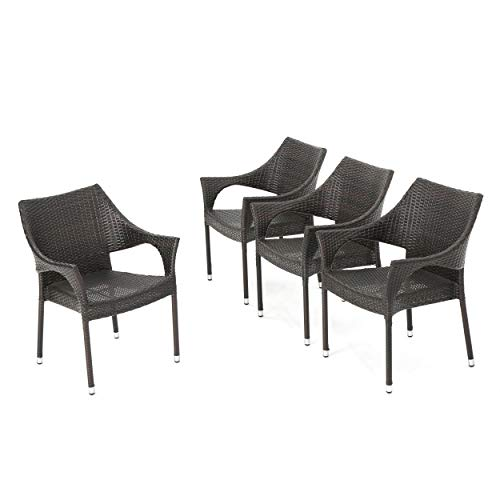 Christopher Knight Home Mirage Outdoor Wicker Stacking Dining Chairs, 4-Pcs Set, Multibrown