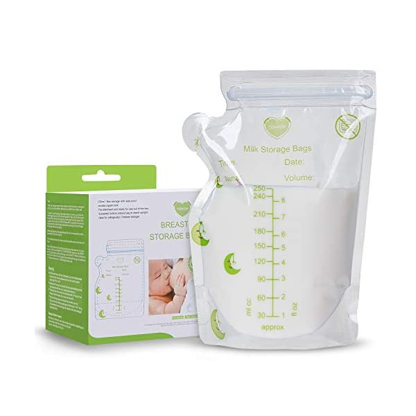 Breastmilk Storage Bags 110 Count 8 OZ 250ML Pre-Sterilized Milk Freezer Bags for Breastfeeding Milk Storage Bag Leak Proof Double Zipper Seal BPA Free