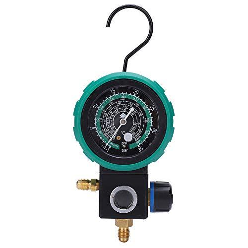 Manómetro de Refrigerante, HS-M480AL Herramientas de Mantenimiento de Reparación de Aire Acondicionado Automático, con Diseños Mecánicos Precisos, Válvula Esférica, Carcasa Anticolisión Gruesa y Ganch