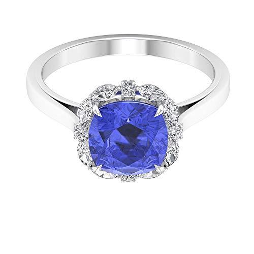 Rosec Jewels - 14 Kt Gelbgold Runder Brilliantschliff Markise Kissenschliff Leicht Getöntes Weiß/Top Crystal (I) Blue Diamant Tansanit