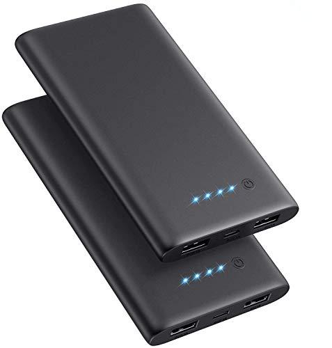 QTshine Batería Externa 10000 mAh【Versión Mejorada Ultra Delgado 2 Paquete】 Carga Rapida de Power Bank con 2 Salidas USB Cargador Móvil Portátil con Múltiples Protecciones para iPhone Android iPad