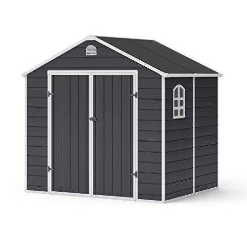 BillyOh Ashford Apex Plastic Garden Shed | Plastic Garden Storage Unit with Foundation Kit | Large Outdoor Storage | 8ft x 6ft - Grey