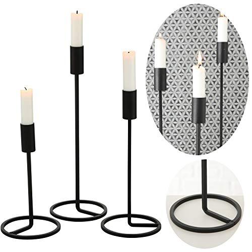 LS-Design 3x Kerzenständer Schwarz Matt Metall Set Kerzen-Halter Kerzenleuchter Stabkerzen