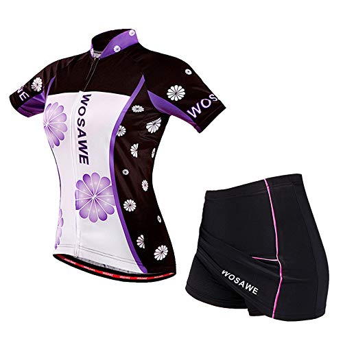 WOSAWE Ropa Deportiva de Ciclismo for Mujer, Transpirable Maillot Bicicleta y 3D Padded Pantalones Cortos Falda para Deportes al Aire (Flores Moradas M)