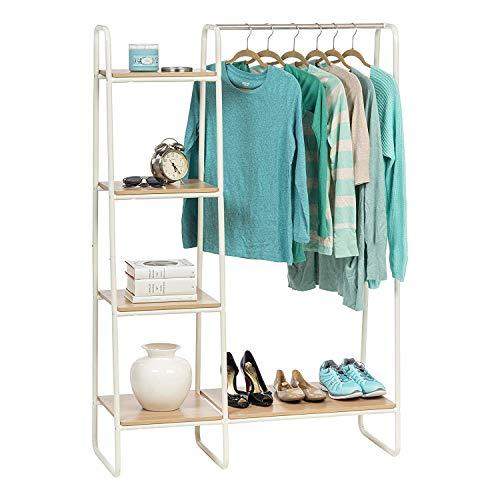 Iris Ohyama 530473 Perchero/espacio de almacenaje con estantes laterales de metálico y MDF madera-Garment Rack PI-B3-Roble claro y blanco, 101.1 x 40 x 150 cm