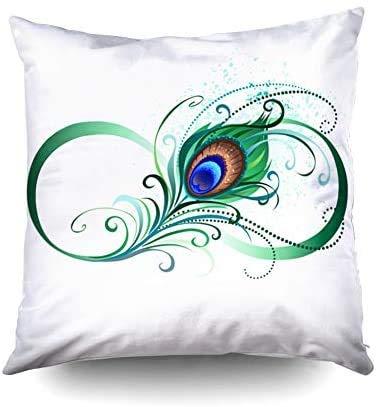 Short Sleeve Cojines para sofá, Fundas de cojín cuadradas, símbolo estándar del Infinito con Pluma de Pavo Real artística Verde Brillante sobre Fondo Blanco Impresa con Ambos Lados
