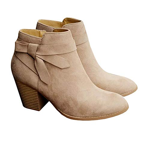PiePieBuy Women's Tie Knot Chelsea Pump Ankle Boots Closed Toe Stacked Heel Booties Shoes Beige