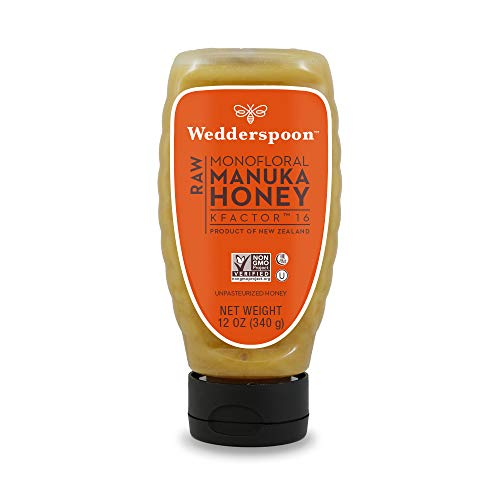 Wedderspoon Raw Manuka Honey KFactor 16, Unpasteurized, Genuine New Zealand Honey, Multi-Functional, Non-GMO Superfood, Convenient Squeeze Bottle, 12 Ounce