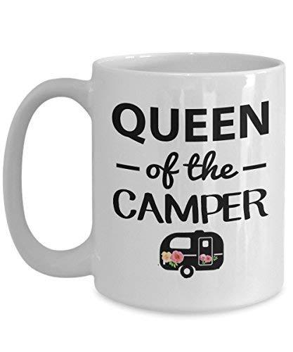 koningin van de camper mok - gelukkig vrouw camping cadeau voor wandelen meisje glamper, houdt van glamping of tent tribal wandelaar novelty koffie mokken 11 Oz grappige geschenken voor moeder, vader Noel, dank u, Kerstmis, Kerstmis