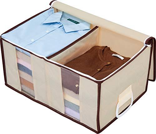アストロ 収納ボックス 衣類用 ベージュ 不織布 仕切り付き 取っ手付き 130-34