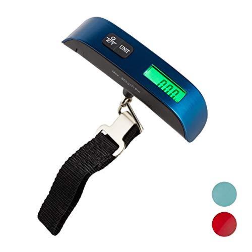 Relaxdays Digitale kofferweegschaal, 50 kg, reizen, met haken, temperatuurweergave en tarra-functie, bagageweegschaal, blauw