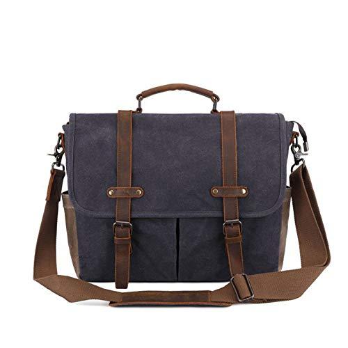 XZDM Ölwachs-Leinwand-Messenger Bag für Männer, wasserdichte und verschleißfeste Computertasche, hochwertiges Leder, große Kapazität, Reißverschlussart, mehrere Taschen Grey