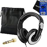 Sennheiser DJ Studio Over-Ear Headphones with Rotatable Ear Cup, HD 205 II (Black) + 1/4' Plug Adapter + Protective Pouch + HeroFiber Ultra Gentle Cleaning Cloth for Sennheiser Headphones