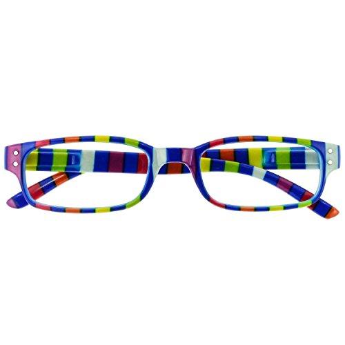 Chaot Lesebrille Reader Kunststoffbrille mit Federscharnier (+3,00, blau-buntgestreift)