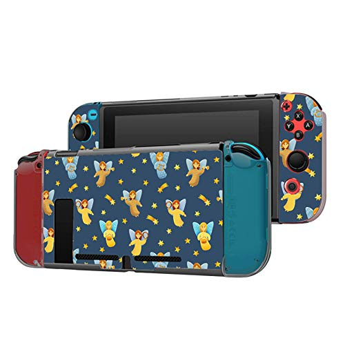 Dockable Case Compatible with Nintendo Switch Console and Joy-Con Controller, Patterned ( Christ Angel and Shooting Star ) Protective Case Cover with Tempered Glass Screen
