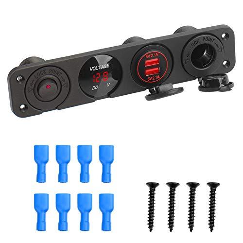 Mmbo Multifunción Dual USB Cargador Coche Cigarette Lighter 12V Rocker Switch Voltímetro Digital (Color : 3 Inch-5)