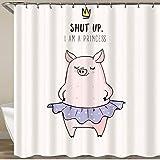 KGSPK Cortinas de Ducha,Cute Pink Cartoon Pig In Ballet Tutu Piglet Girl en una Falda con Letras de Estrellas Cállate,Impermeable Cortinas Baño y Lavables Cortinas Bañera 180x180CM