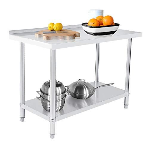 Acero Inoxidable Mesa de Trabajo Cocina Mesa Gastronomía Acero Inoxidable Mesa(122X61CM) ⭐