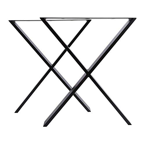 uyoyous Metal Table Legs 71x60CM Set of 2, X Frame Steel Industrial Dining Table Legs Rustic Heavy Duty DIY Coffe Office Furniture Legs