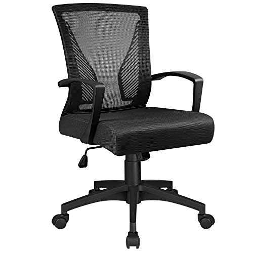 Tuoze Ergonomic Office Mid Back Mesh Chair Swivel Desk Chair Lumbar Support Computer Chair with Armrest (Black)