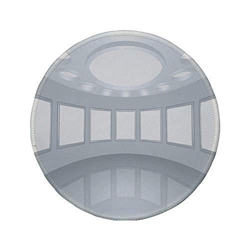 """Rutschfreies Gummi-Rundmaus-Pad modernes Dekor 3D-Visualisierung der Architektur des futuristischen Innenraums mit leerer Bildergalerie weiße Kokosnuss 7.9\""""x7.9\""""x3MM"""