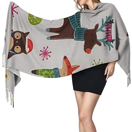 Bufanda grande para mujer, diseño de zorro de ciervo y búho, suave sensación de cachemira, pashmina, chales
