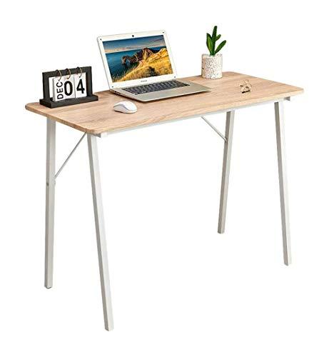 Escritorio pequeño para ordenador, sencillo y moderno, estilo industrial, tablero de fibra de madera y patas de metal, roble, 100 x 48 x 74 cm