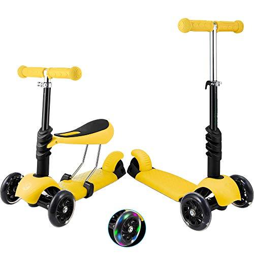 Patinete de 3 ruedas para niños pequeños y niñas, 2 en 1, con asiento desmontable, ruedas de luz LED, manillar de aluminio regulable en altura, base antideslizante, color amarillo