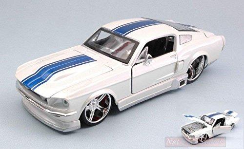 Maisto MI31094W Ford Mustang GT 1967 White W/Blue Stripes 1:24 Die Cast Model Compatibile con