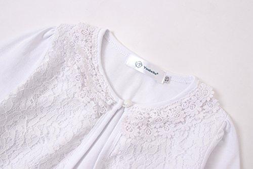ZHUANNIAN Girls' Long Sleeve Lace Bolero Cardigan Shrug (2-3 Years, White)