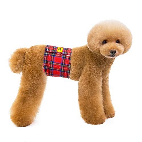 PET HOUND Pañales para Perros Pequeños,Belly Cinturónsanitarios Fisiológicos Pantalones Cinturones,Pañales Vientre Lavables Y Reutilizables para Perros Macho,/Textura De Rejilla Roja,S