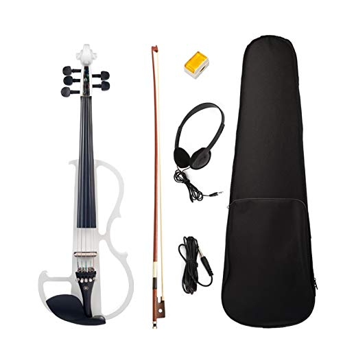 ERCZYO Violín silencioso de 5 cuerdas Violín eléctrico de madera maciza 4/4 violín con accesorios de ébano 4/4 SET de violín for estudiantes ERCZYO