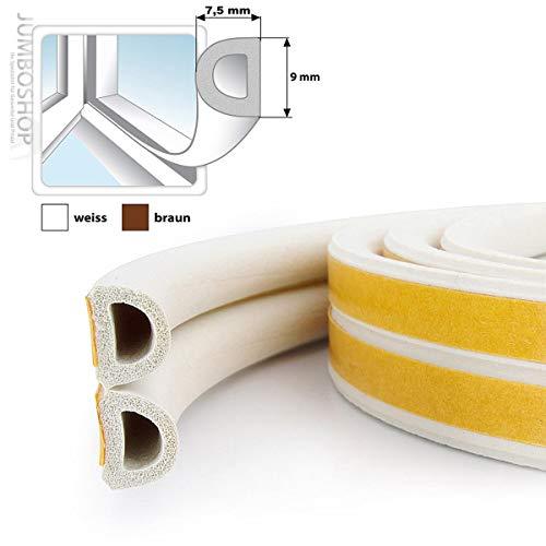 STEIGNER Gummidichtung D-Profil selbstklebend - Fensterdichtung Türdichtung Gummi Profil, Farbe: Weiß, 5 m