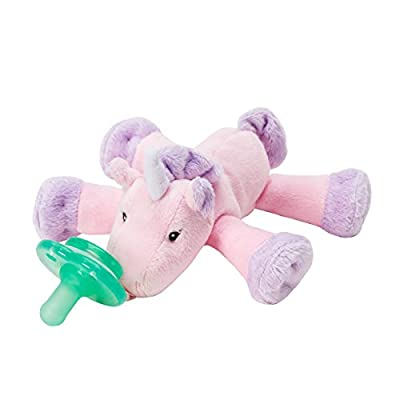 Nookums Paci-Plushies Shakies - Pacifier Holder and Rattle (2 in 1)- Adapts to Name Brand Pacifiers, Suitable for All Ages, Plush Toy Includes Detachable Pacifier (Unicorn)