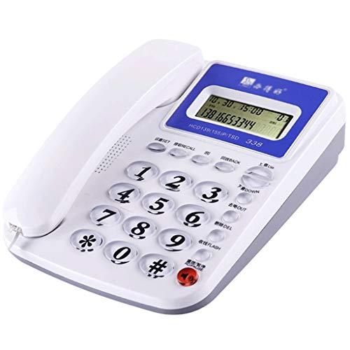 NYDZDM Teléfono de línea Fija Identificador de Llamadas Teléfono con Cable Teléfono de línea Fija Extensión de la Moda con Cable Botón Grande con Altavoz - Blanco