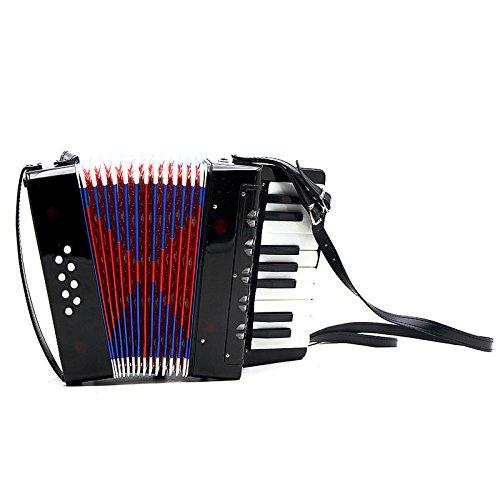 Kinder-Akkordeon-Musikinstrument Spielzeug 17 Key 8 Bass Akkordeon, Schwarz