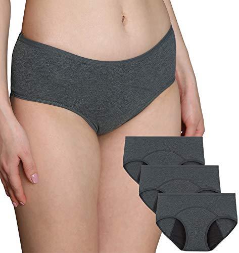 INNERSY Damen Menstruation Slip Kaiserschnitt Unterhose Perioden Unterwäsche 3er Pack (M, 3 Grau)
